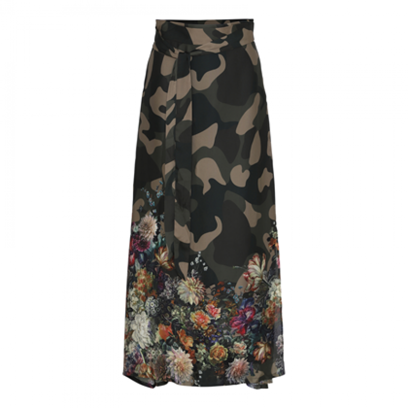 Flower camouflage straight wrap skirt