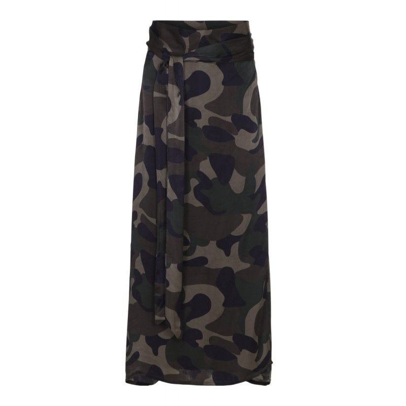 Camouflage straight wrap skirt