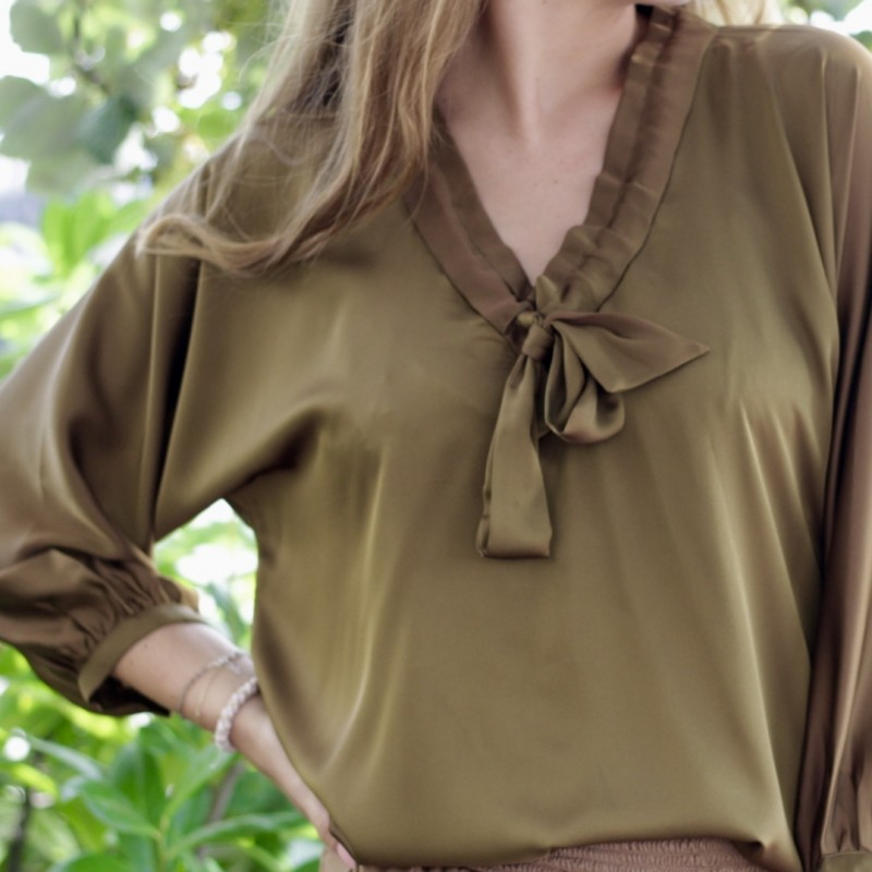 Coffee Tie Blouse