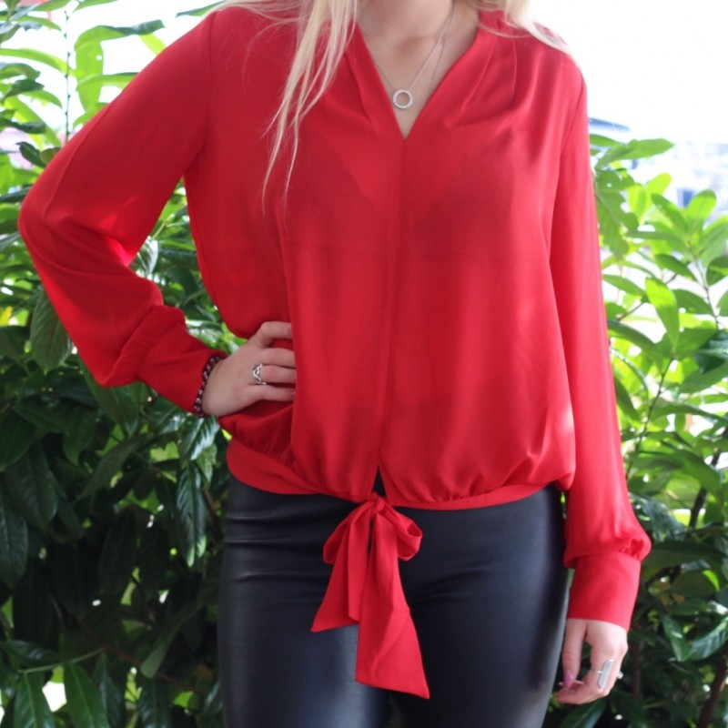 V-neck top with tie detail