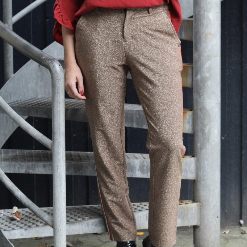 Lurex tailored pants with tape detail