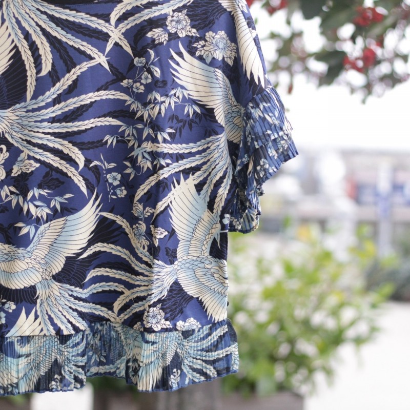 Printed tee with pleated ruffles Maison Scotch