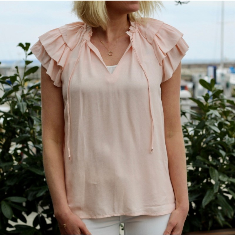 V-neck top with ruffles
