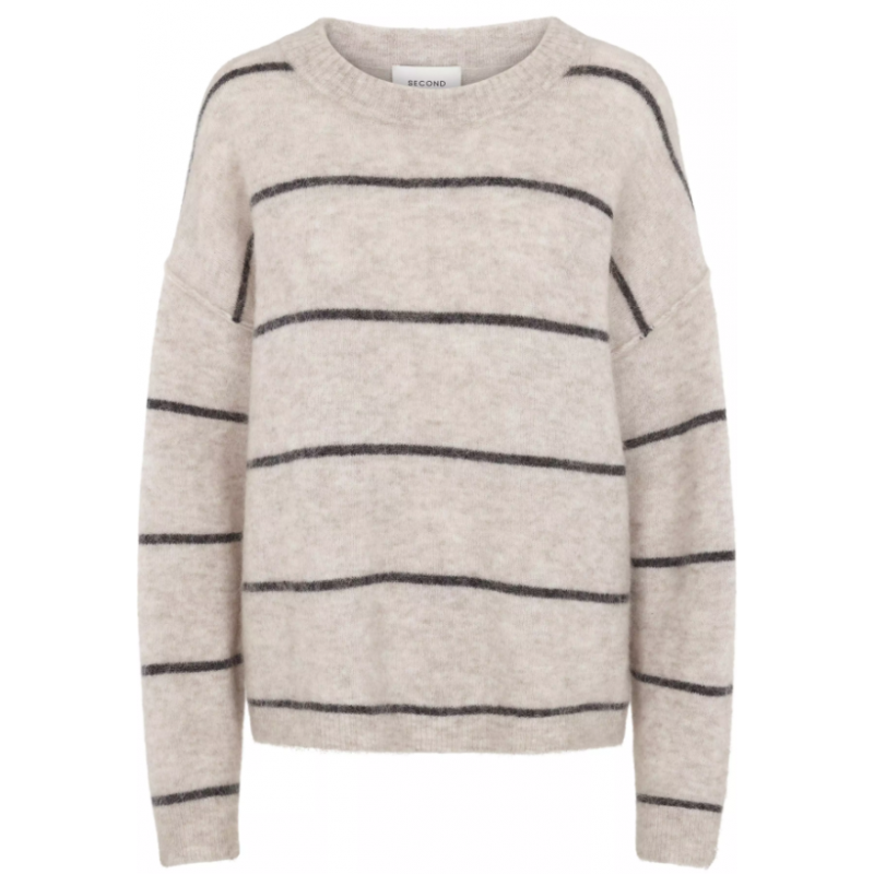 Brook Knit new Loose Striped O-Neck