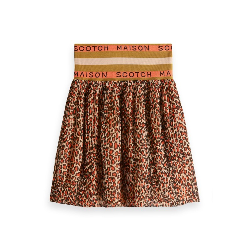 "Pleated skirt with ""Maison Scotch"" elastic waistband"