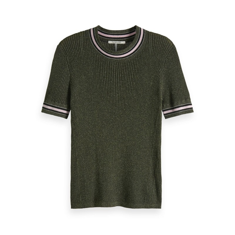 Short sleeve lurex knit with striped ribs