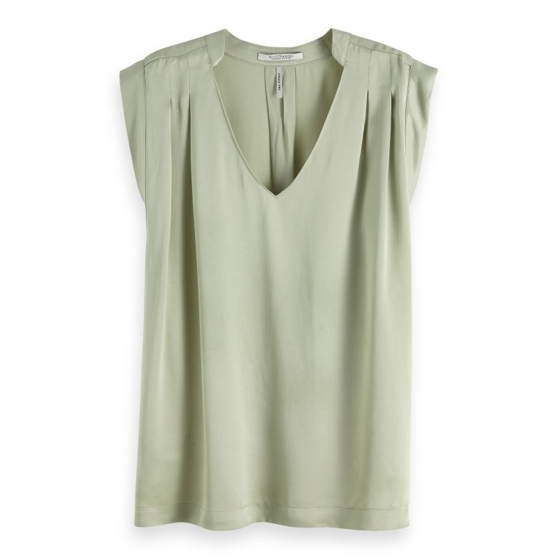 Pleated sleevess top in viscose quality