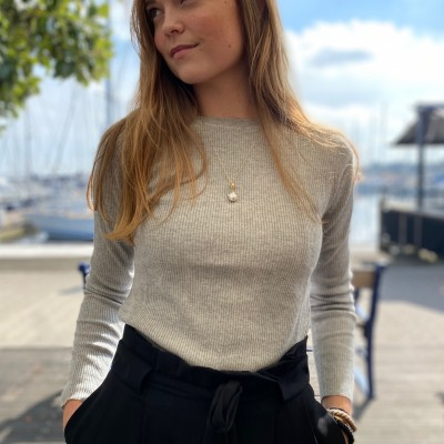 Thin Ribbed Roundneck - Foggy People's Republic Of Cashmere