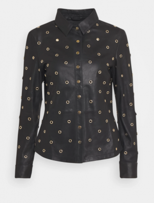 Leather shirt with gold