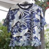 Printed tee with pleated ruffles
